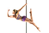 Female Pole dancer, woman dancing on pylon isolated on white background