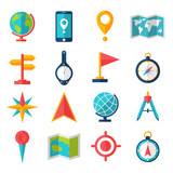 Cartography Flat Icon Set poster