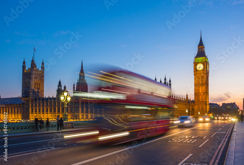 Iconic Double Decker bus with Big Ben and Parliament at blue hour, London, UK Poster