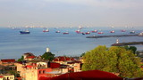 View of  Sea of Marmara and ships standing on raid. Istanbul, Turkey poster