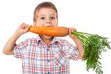 Fototapety Little boy biting the carrot