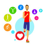 Sport Man Run Fitness App Tracker Icons Wearable Technologies poster