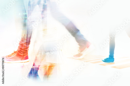 abstract background, people street walk in the city - 84770676