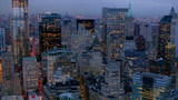 Manhattan financial district at dusk, aerial shot