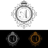 Letter A. Luxury Logo template flourishes calligraphic elegant ornament lines. Business sign, identity for Restaurant, Royalty, Boutique, Hotel, Heraldic, Jewelry, Fashion, vector illustration poster