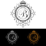 Letter B. Luxury Logo template flourishes calligraphic elegant ornament lines. Business sign, identity for Restaurant, Royalty, Boutique, Hotel, Heraldic, Jewelry, Fashion, vector illustration poster
