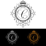Letter C. Luxury Logo template flourishes calligraphic elegant ornament lines. Business sign, identity for Restaurant, Royalty, Boutique, Hotel, Heraldic, Jewelry, Fashion, vector illustration poster