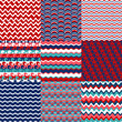 Set of blue, red and white sea wave seamless patterns.