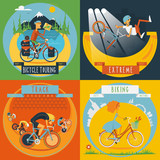 Fototapety Cycling 4 flat icons banner
