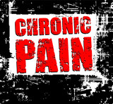 Back grunge background with red caption CHRONIC PAIN. poster