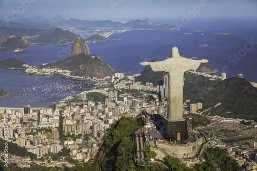 Poster Rio de Janeiro, Brazil : Aerial view of Christ and Botafogo Bay