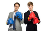 Two young businessman with boxing gloves, rivalry concept, isola poster