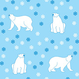 vector seamless pattern polar bears and snowflakes