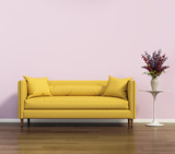 Fototapety Yellow sofa over a pink wall
