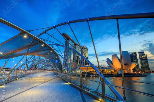 Singapore city skyline night Poster
