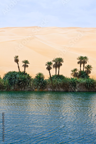 Naklejka Libya,Sahara desert,the Ubari lakes area