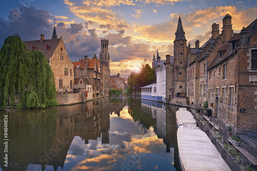 Bruges. Image of Bruges, Belgium during dramatic sunset.