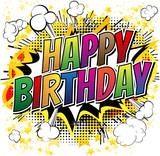 Fototapety Happy Birthday - Comic book style card isolated on white background.