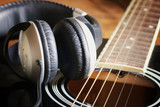 Fotoroleta instrument guitar headphones and microphone