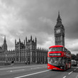 Houses of Parliament and a bus, London, UK