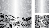 Fototapety Silver floral decorative holiday background set with black and white ornaments