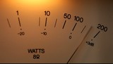 Vintage audio Vu meter moving to the beat of the sound.