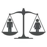 Icono balanza con simbolo hombre mujer gris