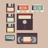 Old stuff from 90s and 80s in vintage style icon poster