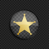Black badge with gold sheriff star silhouette on square background