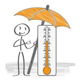 Fototapety Sommerwetter - Strichmännchen mit Thermometer