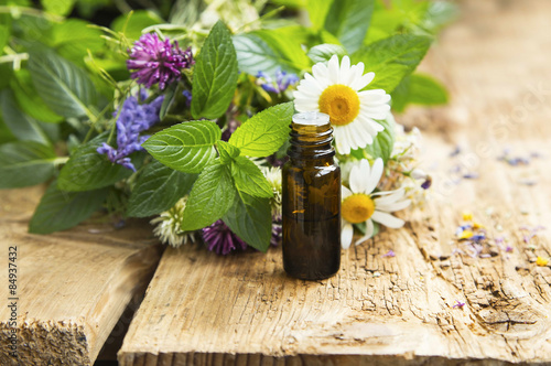 Plakat Essential Oil with Medicinal Herbs and Flowers for Alternative T
