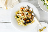 Farfalle with seafood