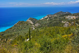 Fotoroleta Lefkada island Landscape with forest and Ionian sea, Ionian Islands, Greece