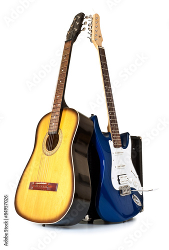 Poster acoustic and electric guitars