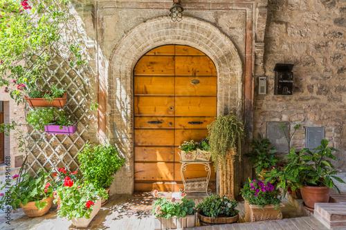 Fototapeta Elegante porta di legno con vasi di fiori