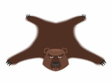 Bear pelt. Big brown bear Grizzly hide. Hunting trophy. Vector i poster