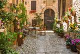 Fototapety Ingresso romantico casa con mobili da giardino e vasi di fiori