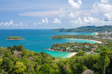 Fototapety Beautiful turquoise ocean waves with boats and coastline from high view point. Kata and Karon beaches Phuket Thailand