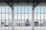 Fototapety Contemporary office space with New York view. A concept of financial success.