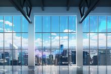 Bureau contemporain avec vue sur New York. tableaux financiers sont tirés sur les fenêtres.