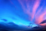 Fototapeta Twilight sky in deep blue and pink