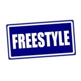 Freestyle white stamp text on blue background