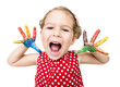 Positive child with colorful hands