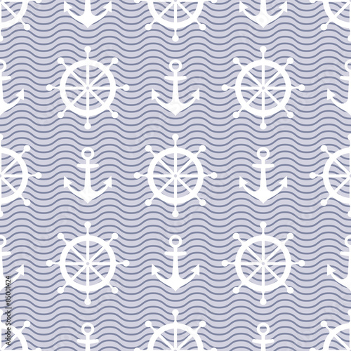 Naklejka Cute nautical background. Navy vector seamless pattern: anchor, waves and steering wheel.