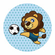 Vinilo - Animals play football cartoon theme elements
