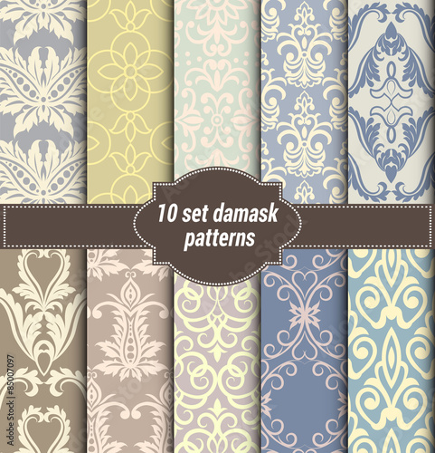 Fototapeta collection of floral patterns for making seamless wallpapers, vintage styles, pattern swatches included,