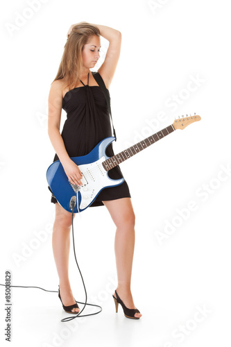 Poster cute blonde girl with guitar