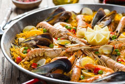 Fruits de mer Paella espagnole Poster