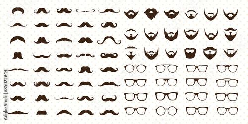 Zestaw w stylu wąsów, brody i okularów przeciwsłonecznych
