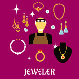 Jeweler or goldsmith with jewelries, flat style poster